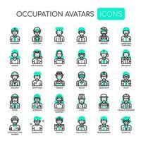 Ockupationsavatarer, tunna linjer och perfekta ikoner för pixlar vektor