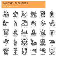 Militärische Elemente, dünne Linie und Pixel perfekte Symbole
