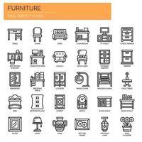 Möbelelemente, dünne Linie und Pixel perfekte Symbole