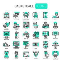 Basketelement, tunn linje och perfekta ikoner för pixlar vektor
