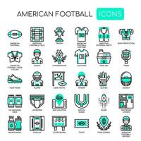 Amerikansk fotboll, tunn linje och perfekta ikoner för pixlar