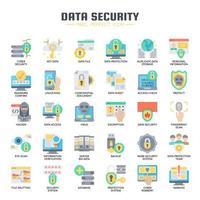 Datasäkerhet, tunn linje och perfekta ikoner för pixlar