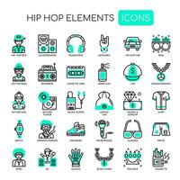 Hip Hop-Elemente, dünne Linie und Pixel perfekte Symbole vektor