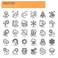 Väder tunn linje och perfekta pixlar ikoner