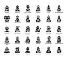 Hinduiska gudar, tunn linje och perfekta ikoner för pixlar