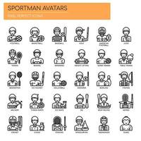 Sportman Avatars, Thin Line och Pixel Perfect Icons vektor