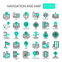 Navigationskarte dünne Linie und Pixel perfekte Symbole