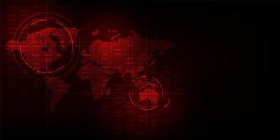 Globale Kartenanzeige der roten Technologie vektor