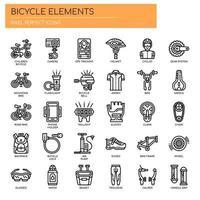 Cykelelement, tunna linjer och perfekta ikoner för pixlar vektor