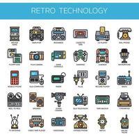 Retro-Technologie, dünne Linie und Pixel Perfect Icons vektor