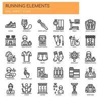 Laufende Elemente, dünne Linie und Pixel Perfect Icons