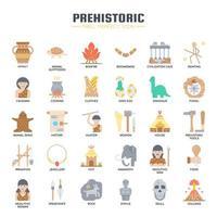 Prähistorische Elemente, dünne Linie und Pixel perfekte Symbole