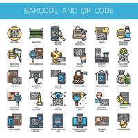 Barcode und QR-Code, dünne Linie und Pixel Perfect Icons