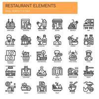 Restaurangelement, tunna linjer och perfekta ikoner för pixlar vektor