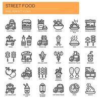 Street Food und Food Truck, dünne Linie und Pixel Perfect Icons