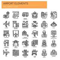 Flughafen-Elemente, dünne Linie und Pixel Perfect Icons vektor
