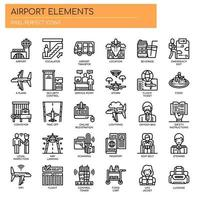 Flygplatselement, tunn linje och perfekta ikoner för pixlar