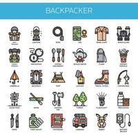 Backpacker-Elemente, dünne Linie und Pixel perfekte Symbole vektor