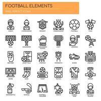 Fotbollelement, tunna linjer och perfekta ikoner för pixlar vektor