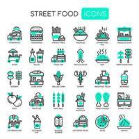 Street Food und Food Truck, dünne Linie und Pixel Perfect Icons vektor