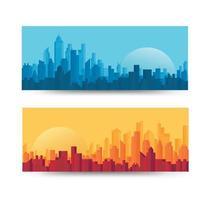 Farbverlauf City Skyline Banner vektor