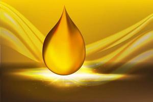 Goldene Öltropfen auf gelbem Hintergrund mit glänzenden Strahlen vektor