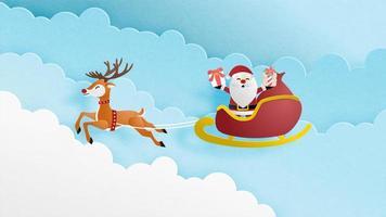 Julberömbakgrund i papperssnittstil