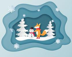 Kort för julberömhälsning i stil för papperssnitt vektor