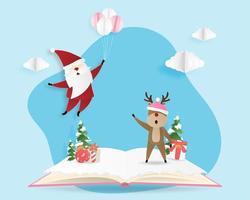 God julkort i papperssnittstil. vektor