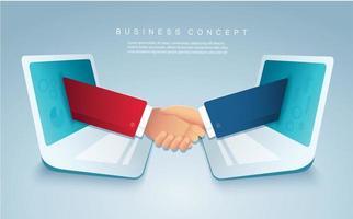 Online-affär med affärsfolk som skakar hand genom bärbara datorer