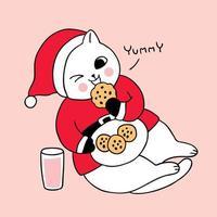 Nette Weihnachtskatze der Karikatur, die Plätzchen und Milch isst