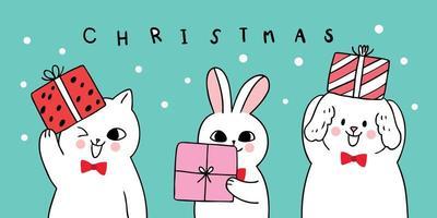 Weihnachtshund und Katze und Kaninchen tragen Geschenk