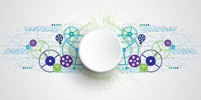 Abstrakt teknologibegrepp för blågrön cirkel