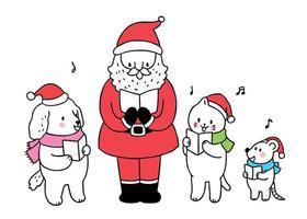 Jultomten och djur som sjunger sångberöm vektor