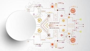 Kreis der Technologie 3d mit den orange und roten Stromkreislinien