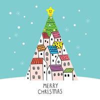 Tecknad gullig julgran