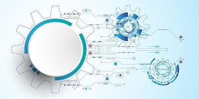 Kreisdesign der Technologie 3d mit Verbindungsdigitalleitungen vektor