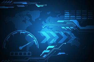 Digital hastighetsmätare på blå global kartabakgrund vektor