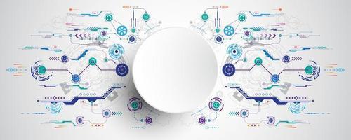 Kreis der Technologie 3d mit buntem Stromkreishintergrund