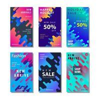 Set Sale Banner Hintergrund mit dynamischen abgerundeten Formen Element