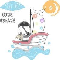 söt pirat Panda i båt