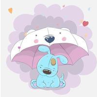 süßes Baby Hund sitzt unter Regenschirm vektor