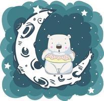 niedlicher kleiner Bär, der auf Mond sitzt