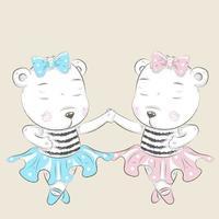 söta lilla björn ballerinor håller händer vektor