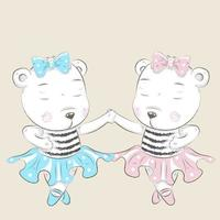 süße kleine Bär Ballerinas Hand in Hand vektor