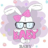 Tragende Gläser des netten Babykaninchens und ein Bogen vektor