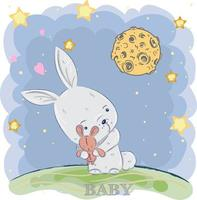 söt baby kanin utanför på natten