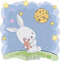 süßes Baby Kaninchen draußen in der Nacht