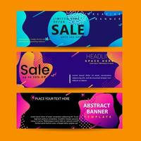 Horisontell baneruppsättning med modern färgglad webbmall för vätskeelement