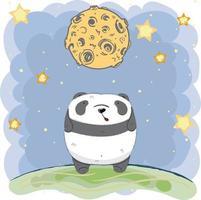 süßes Baby Panda unter Mond in der Nacht vektor